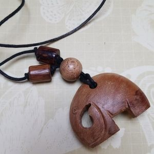 Vintage Necklace Wood Elephant Boho Festival Wear
